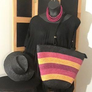 BEAUTIFUL Multicolor Vintage Straw Bag 🖤💜❤💛